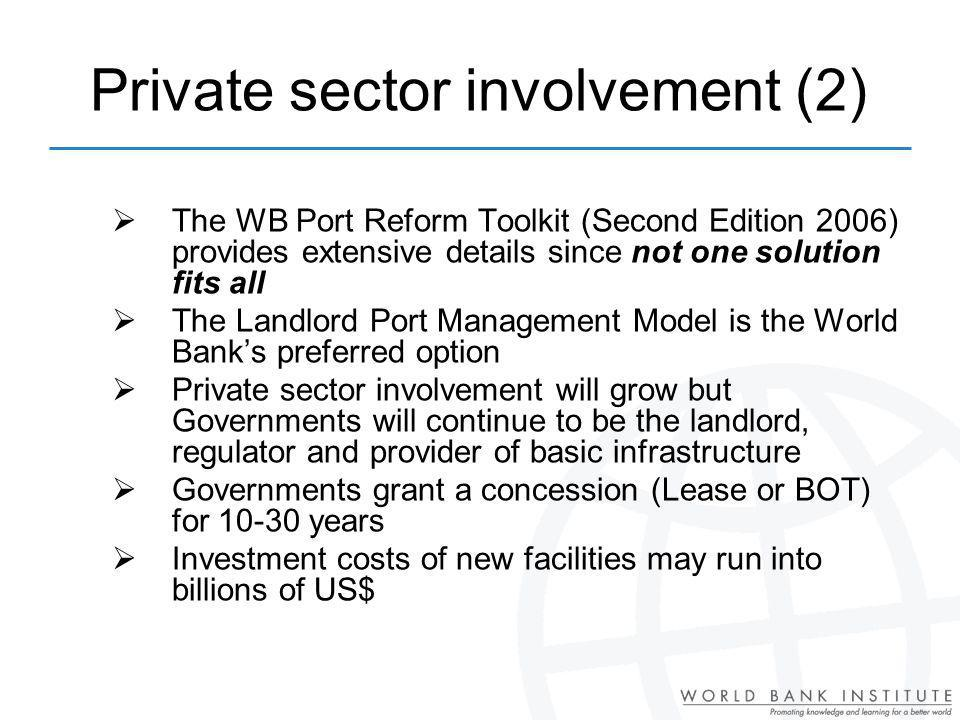 Private sector involvement (2)