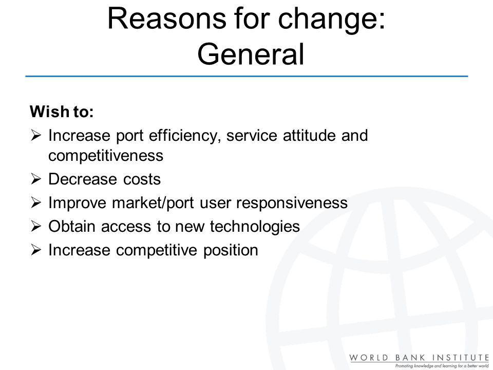 Reasons for change: General