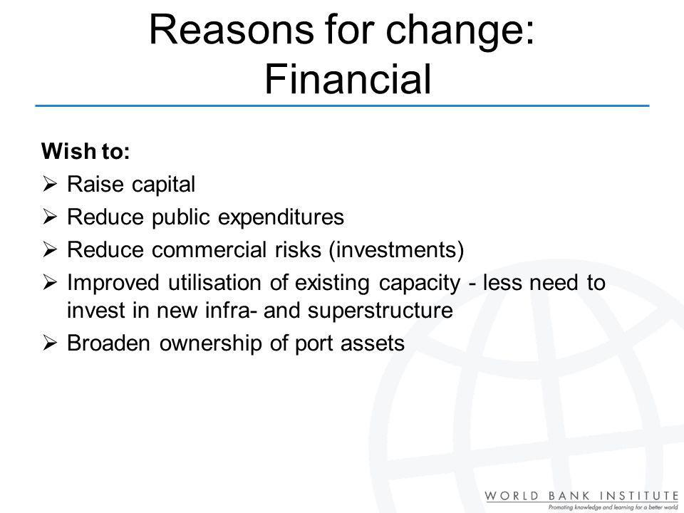 Reasons for change: Financial
