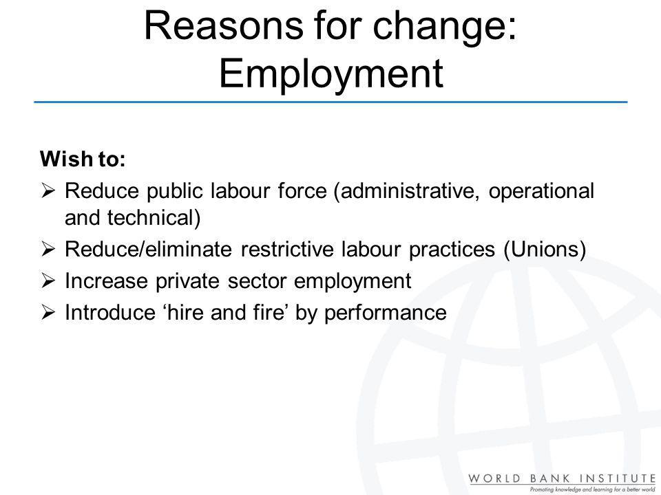Reasons for change: Employment