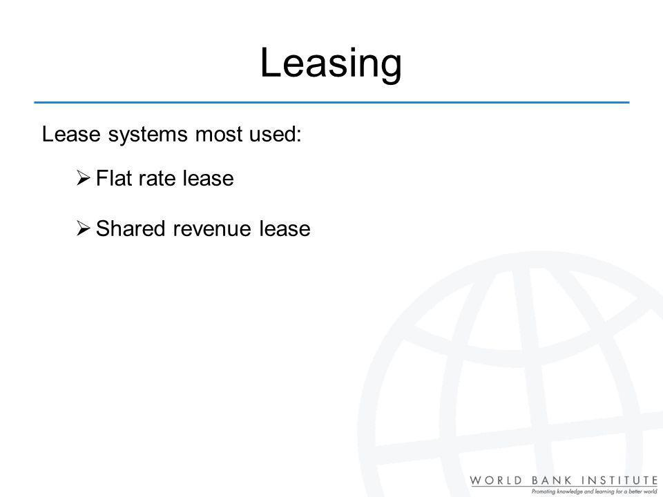 Leasing Lease systems most used: Flat rate lease Shared revenue lease