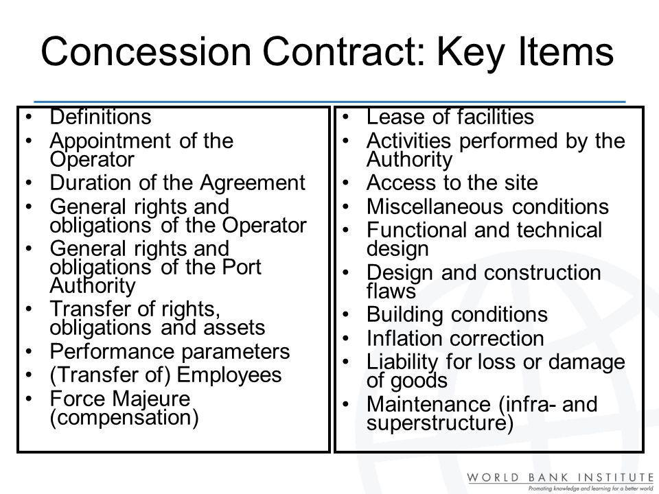 Concession Contract: Key Items