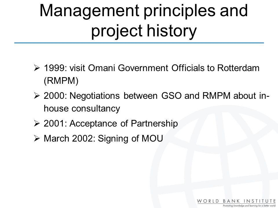 Management principles and project history