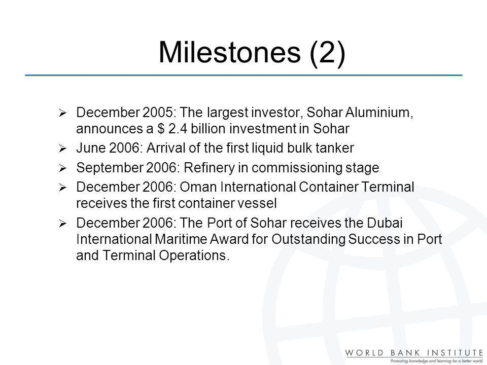 Milestones (2) December 2005: The largest investor, Sohar Aluminium, announces a $ 2.4 billion investment in Sohar.