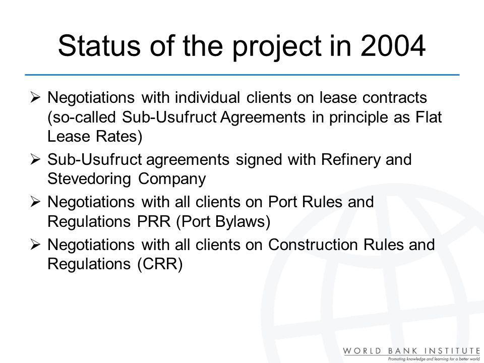 Status of the project in 2004