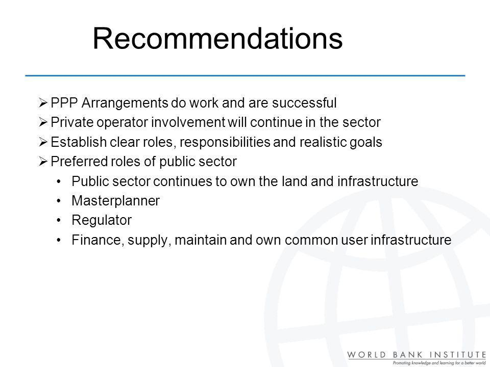 Recommendations PPP Arrangements do work and are successful