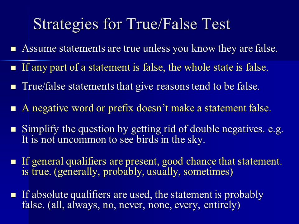 Strategies for True/False Test