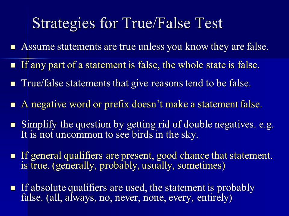 Strategies for True/False Test