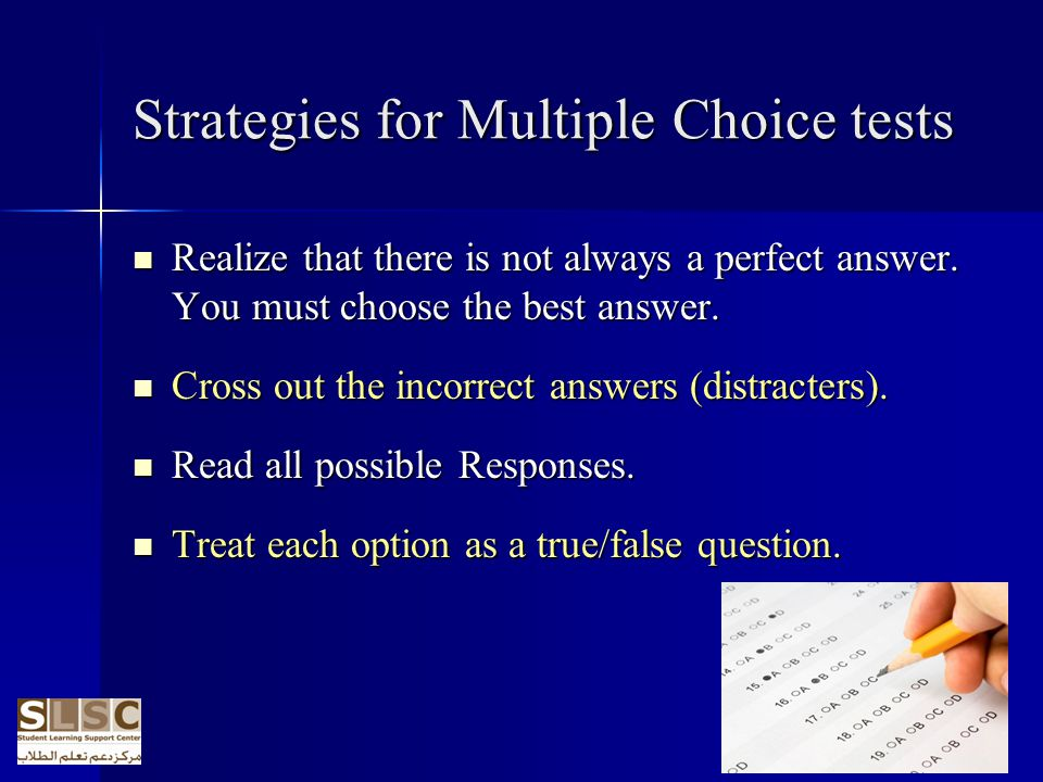 Strategies for Multiple Choice tests
