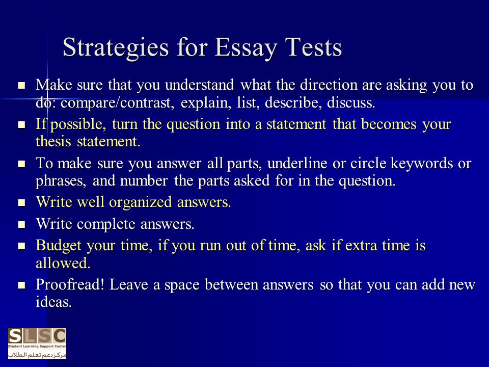 Strategies for Essay Tests