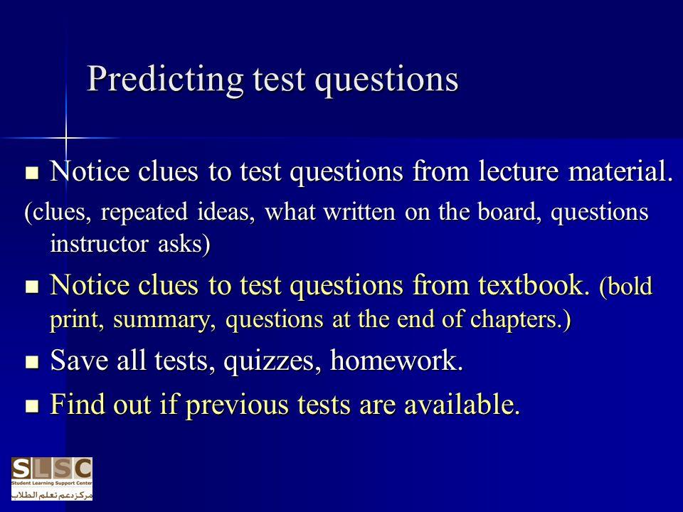 Predicting test questions
