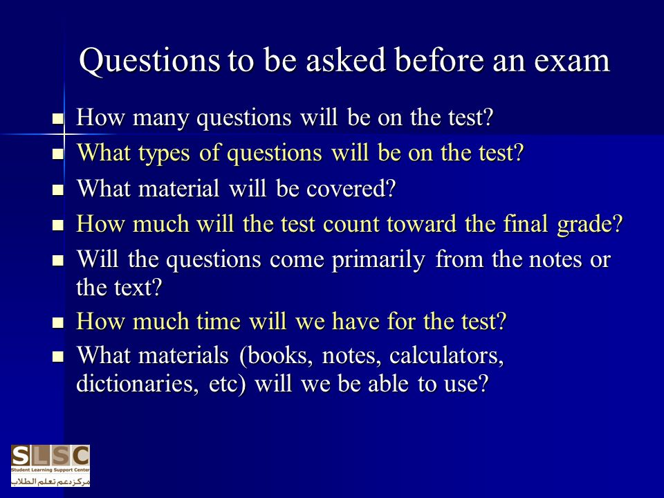Questions to be asked before an exam
