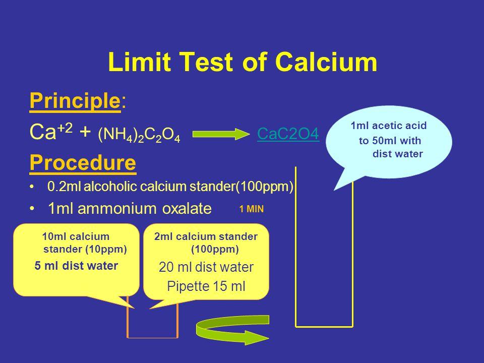 10ml calcium stander (10ppm) 2ml calcium stander (100ppm)