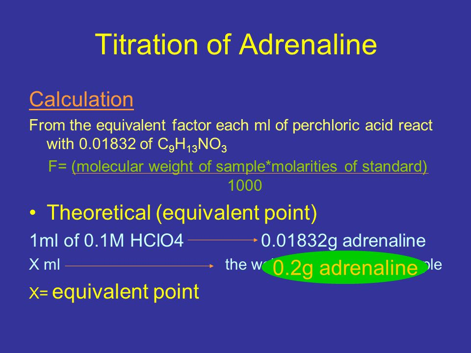 Titration of Adrenaline