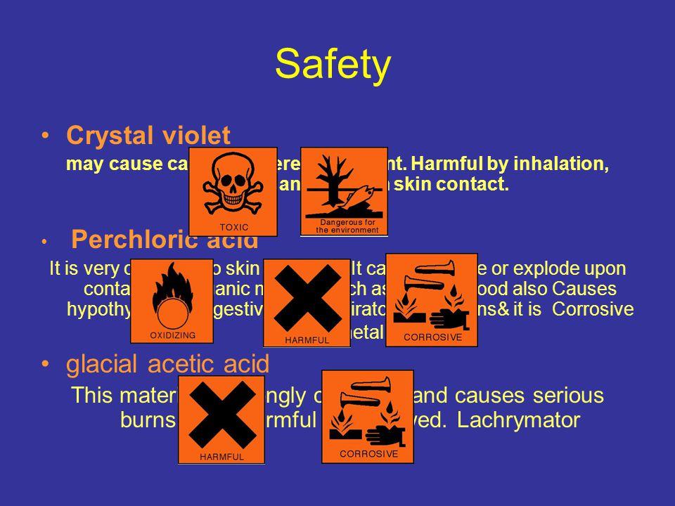 Safety Crystal violet glacial acetic acid