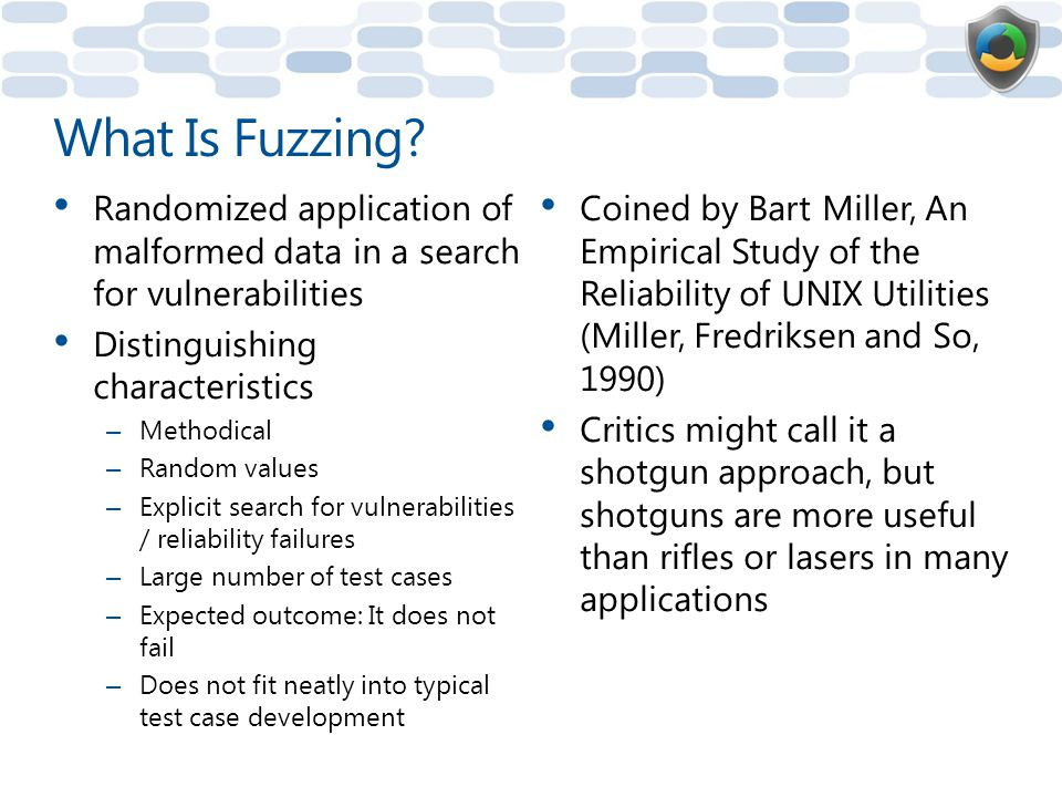 What Is Fuzzing Randomized application of malformed data in a search for vulnerabilities. Distinguishing characteristics.