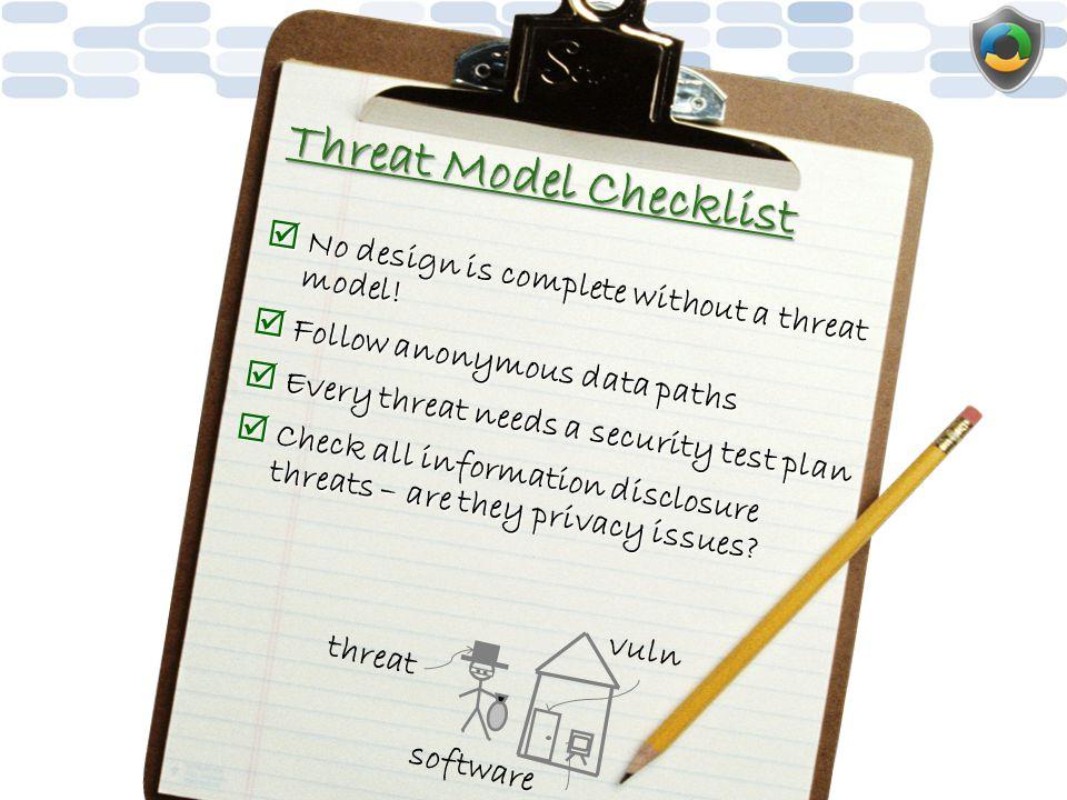 Threat Model Checklist