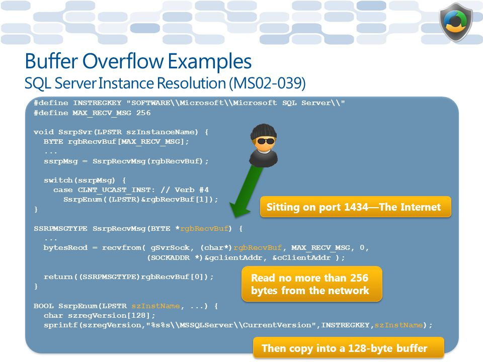 Buffer Overflow Examples SQL Server Instance Resolution (MS02-039)