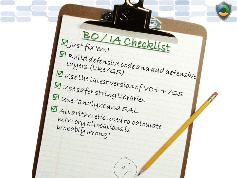 BO / IA Checklist Just fix em!