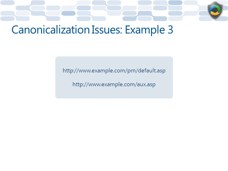 Canonicalization Issues: Example 3