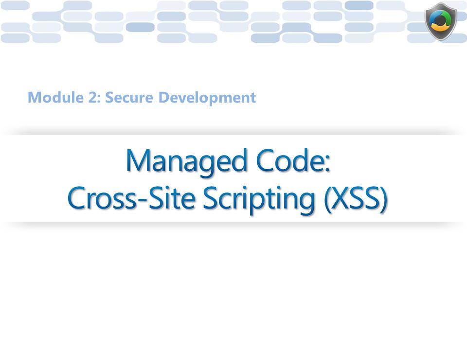 Managed Code: Cross-Site Scripting (XSS)
