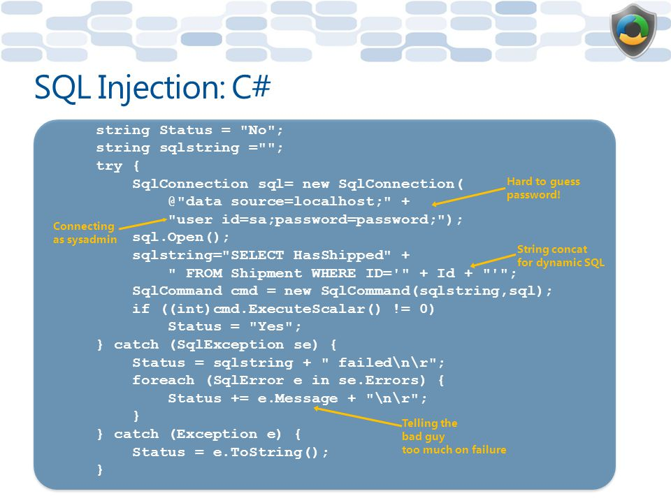 SQL Injection: C# string Status = No ; string sqlstring = ; try {
