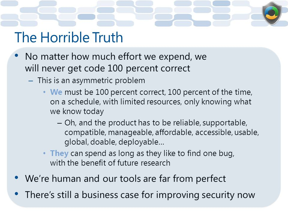 The Horrible Truth No matter how much effort we expend, we will never get code 100 percent correct.
