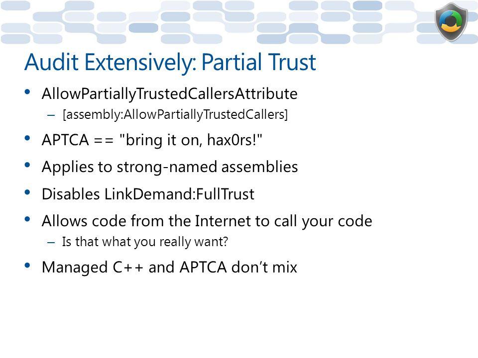 Audit Extensively: Partial Trust