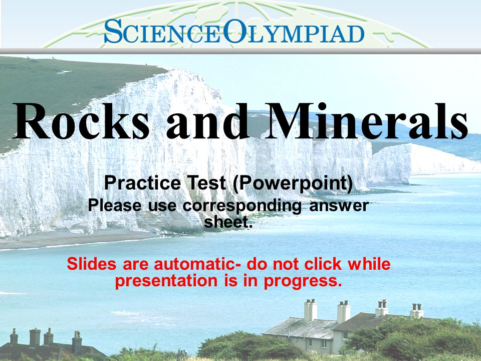 Rocks and Minerals Practice Test (Powerpoint)
