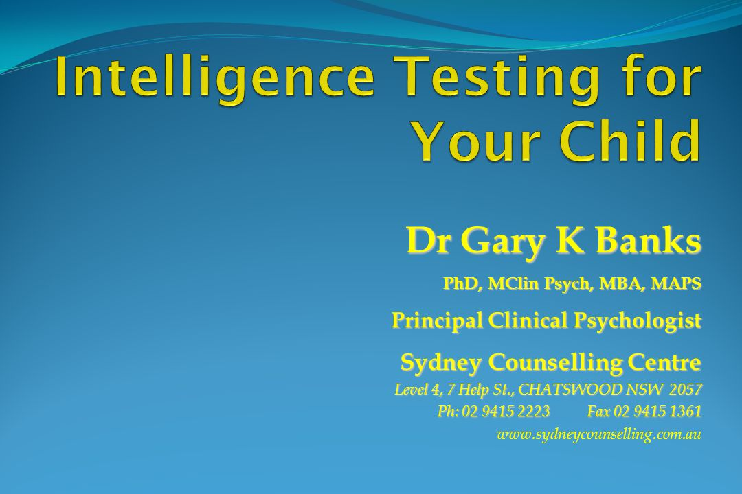 Intelligence Testing for Your Child