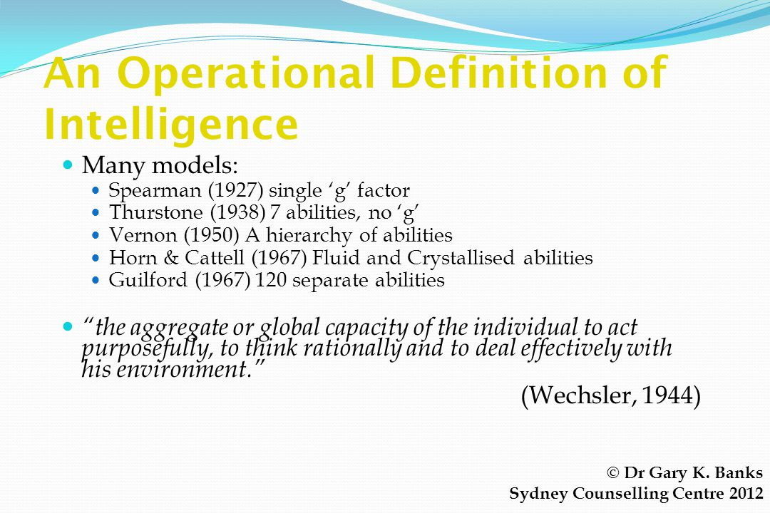 An Operational Definition of Intelligence