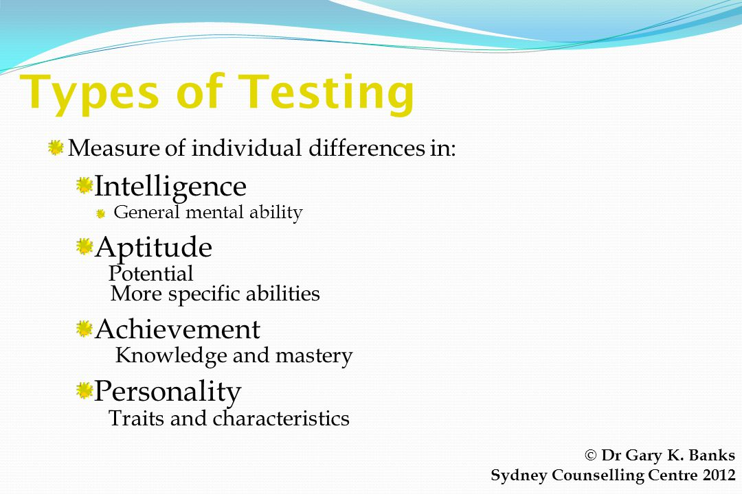 Types of Testing Intelligence