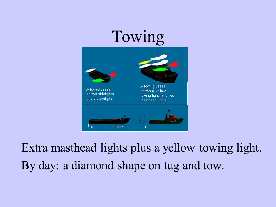 Towing Extra masthead lights plus a yellow towing light.