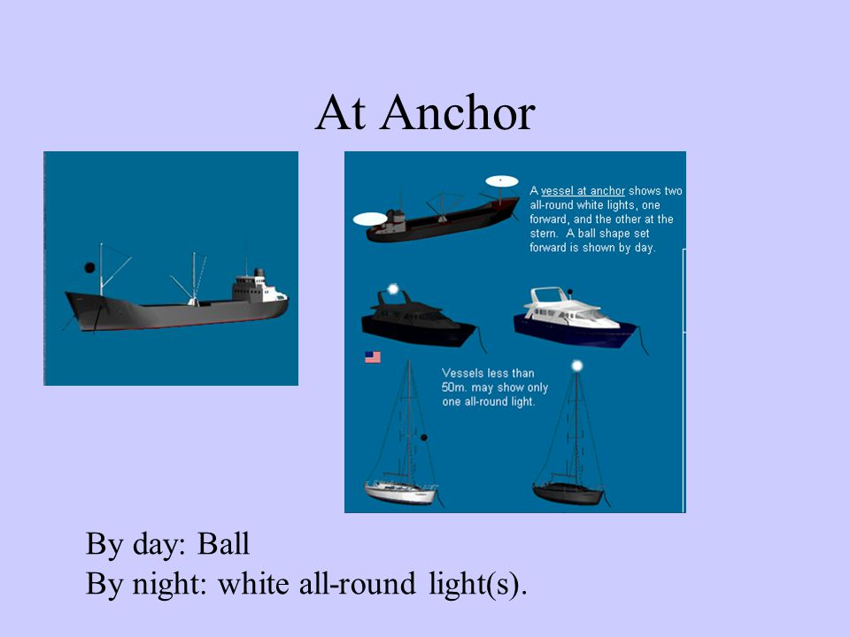 At Anchor By day: Ball By night: white all-round light(s).