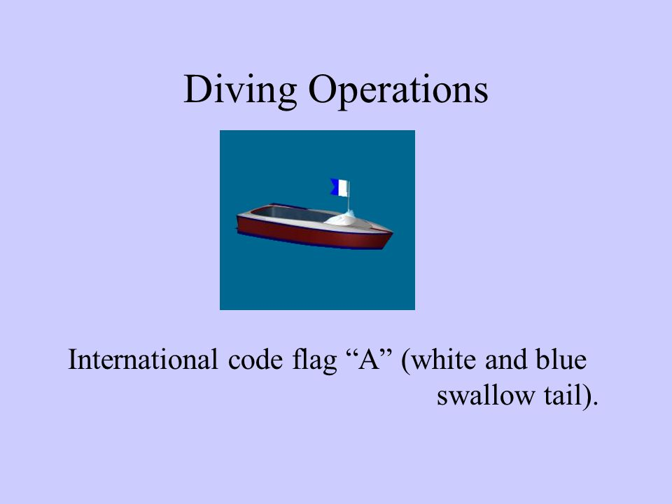 Diving Operations International code flag A (white and blue swallow tail).