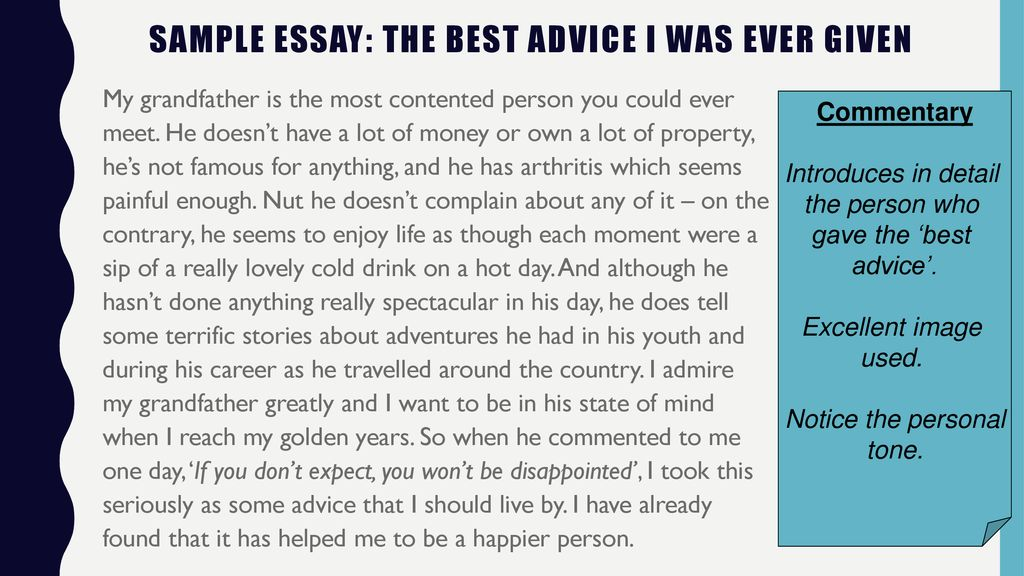 Best advice ever received essay
