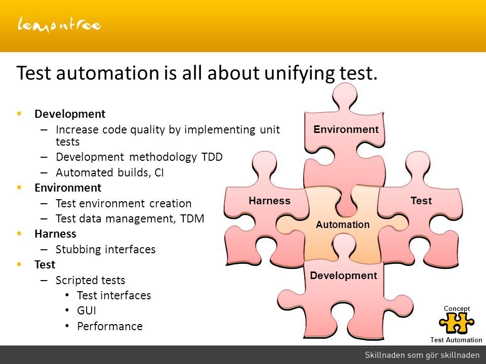 Test automation is all about unifying test.