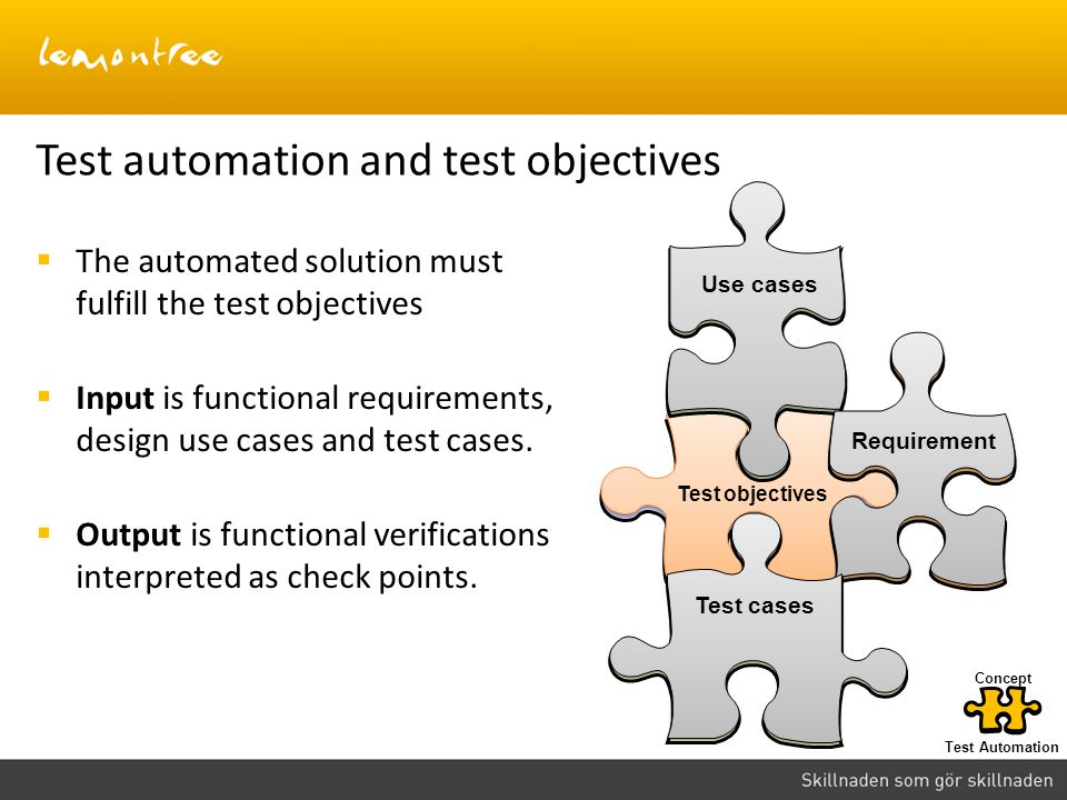 Test automation and test objectives