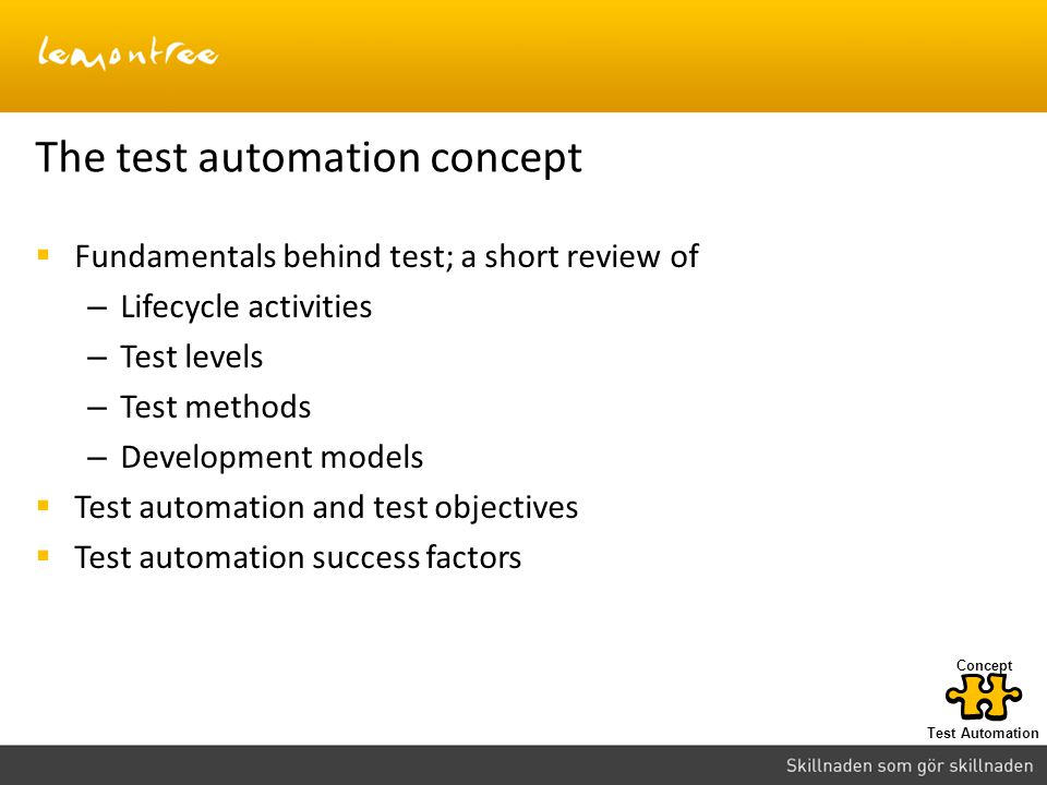 The test automation concept