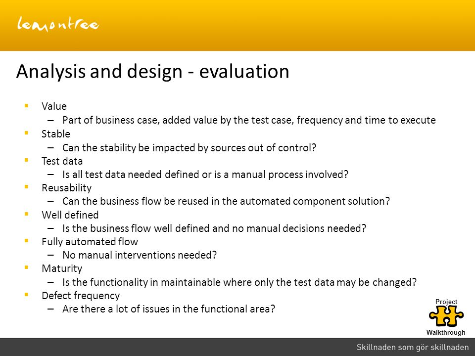 Analysis and design - evaluation