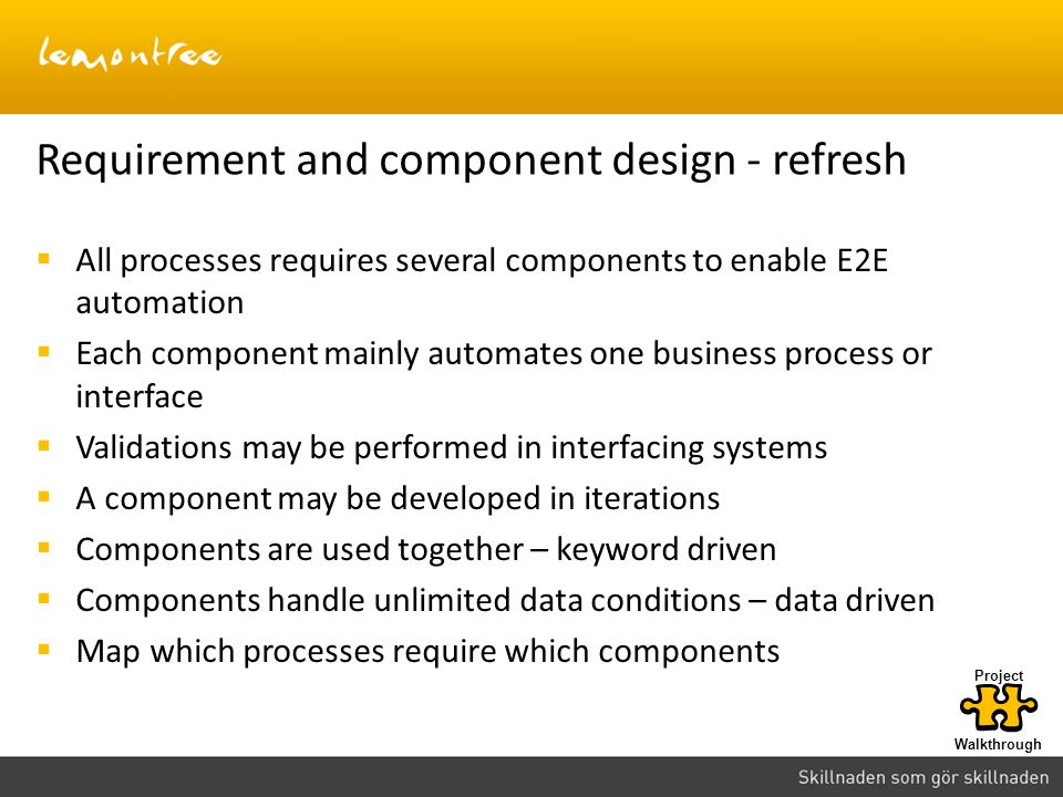 Requirement and component design - refresh