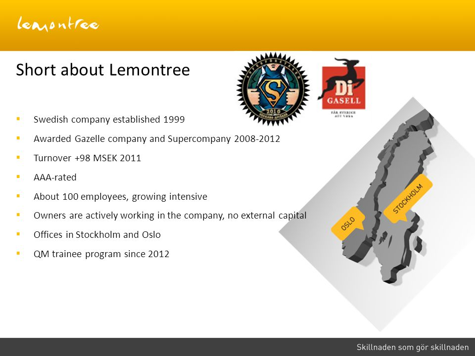 Short about Lemontree Swedish company established 1999