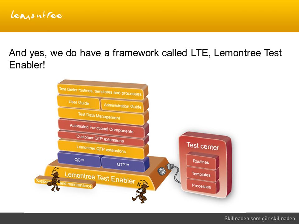And yes, we do have a framework called LTE, Lemontree Test Enabler!