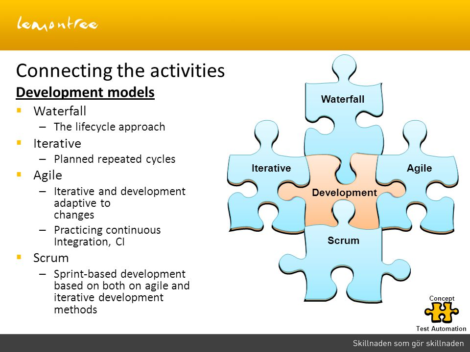 Connecting the activities Development models