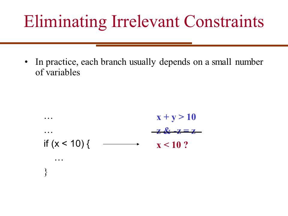 Eliminating Irrelevant Constraints