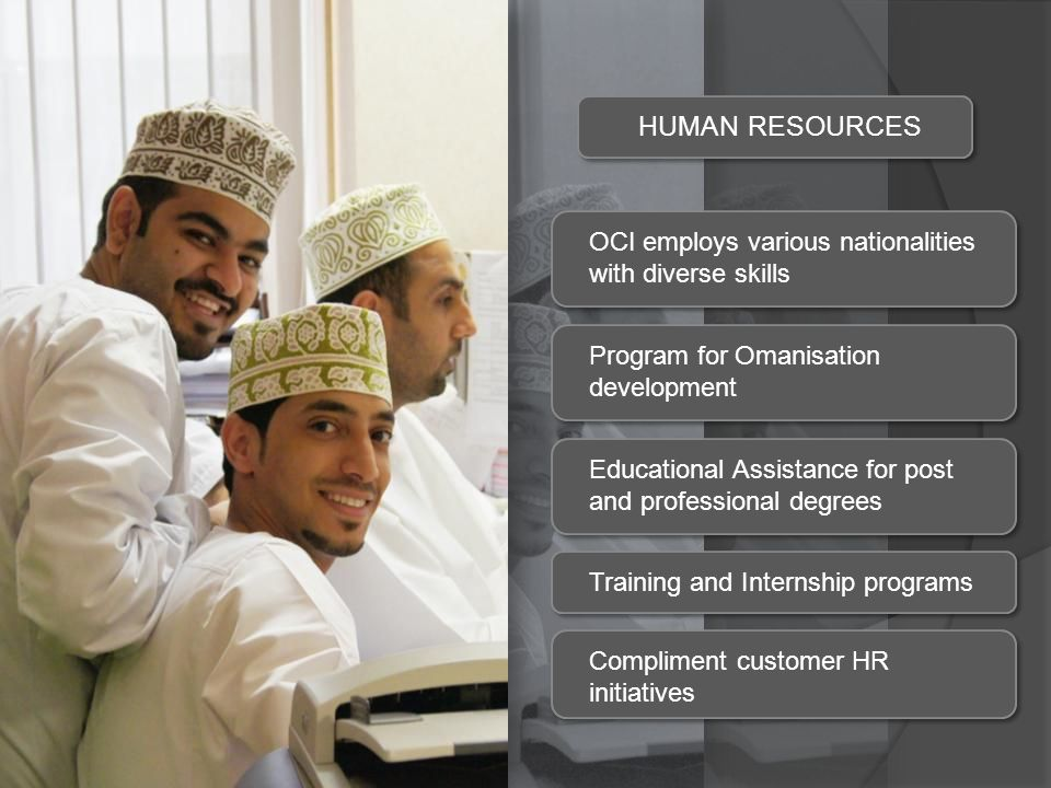 HUMAN RESOURCES OCI employs various nationalities with diverse skills