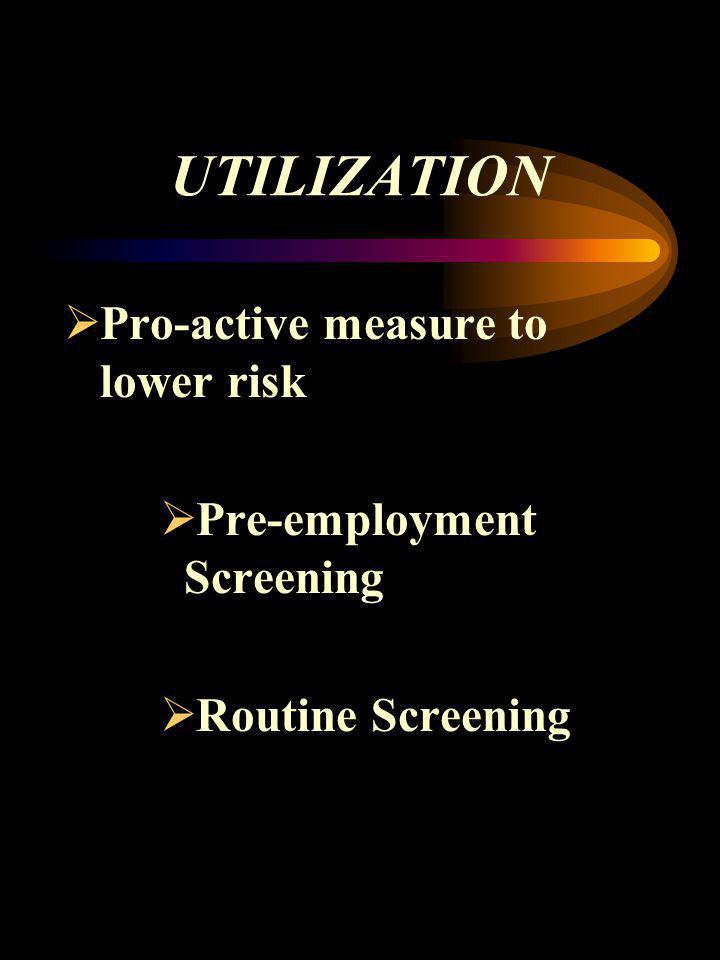 UTILIZATION Pro-active measure to lower risk Pre-employment Screening