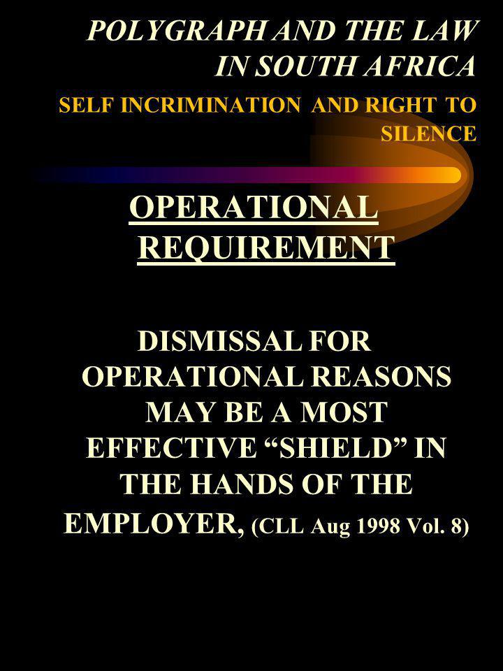 OPERATIONAL REQUIREMENT