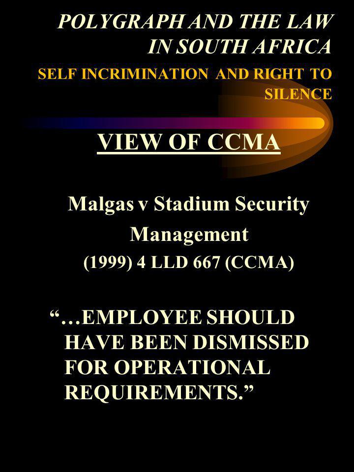 Malgas v Stadium Security