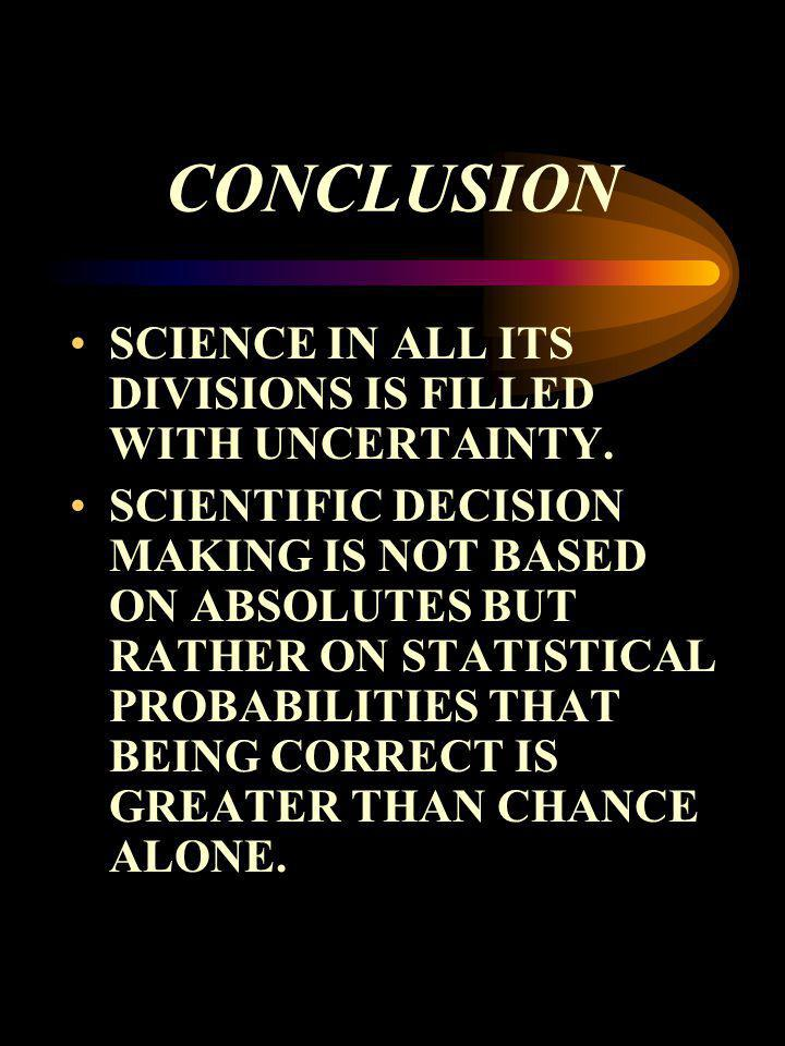 CONCLUSION SCIENCE IN ALL ITS DIVISIONS IS FILLED WITH UNCERTAINTY.